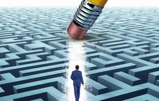 Leadership Solutions with a businessman - Help - Business Support - Maze - Uncertainty - image courtesy of Depositphotos.
