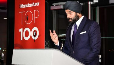 Rajkaran Singh Kharbanda speaking at the launch of The Manufacturer Top 100 2018 - image courtesy of The Manufacturer.
