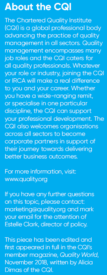 About the Chartered Quality Institute (CQI) - Dec/Jan 2018