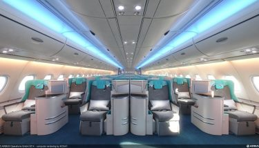Inside the A380 - image courtesy of Airbus.
