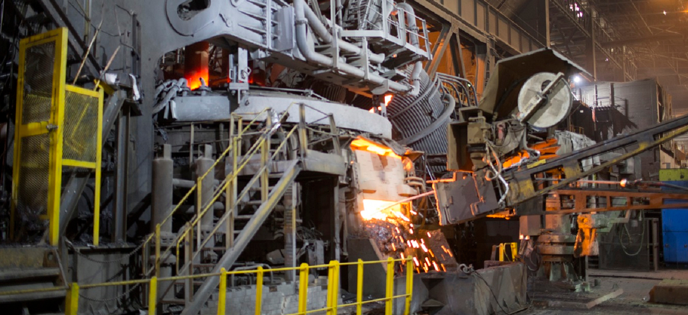 FULL WIDTH CROP - Electric arc furnace at Aldwarke Cast Products, Rotherham - image courtesy of Liberty House. 05/04/17 Rotherham - TATA / Liberty shoot in Rotherham