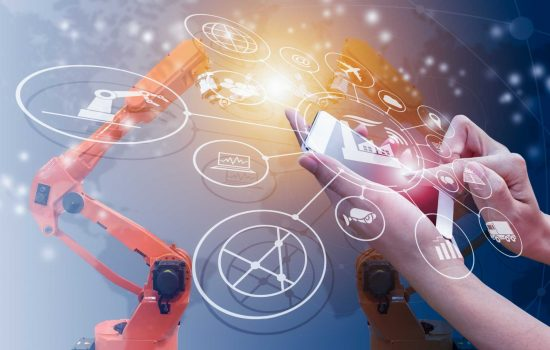 Industrial Automation - Industry 4.0 concept, intelligent factory with control over the Internet. Use smartphone to check status and order, with icon flow automation and data exchange in manufacturing technologies - image courtesy of Depositphotos.