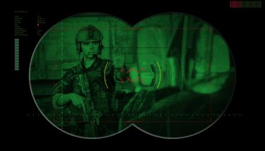 Night Vision Goggles - Rangers team during night operation hostage rescue.view through – image courtesy of Depositphotos.
