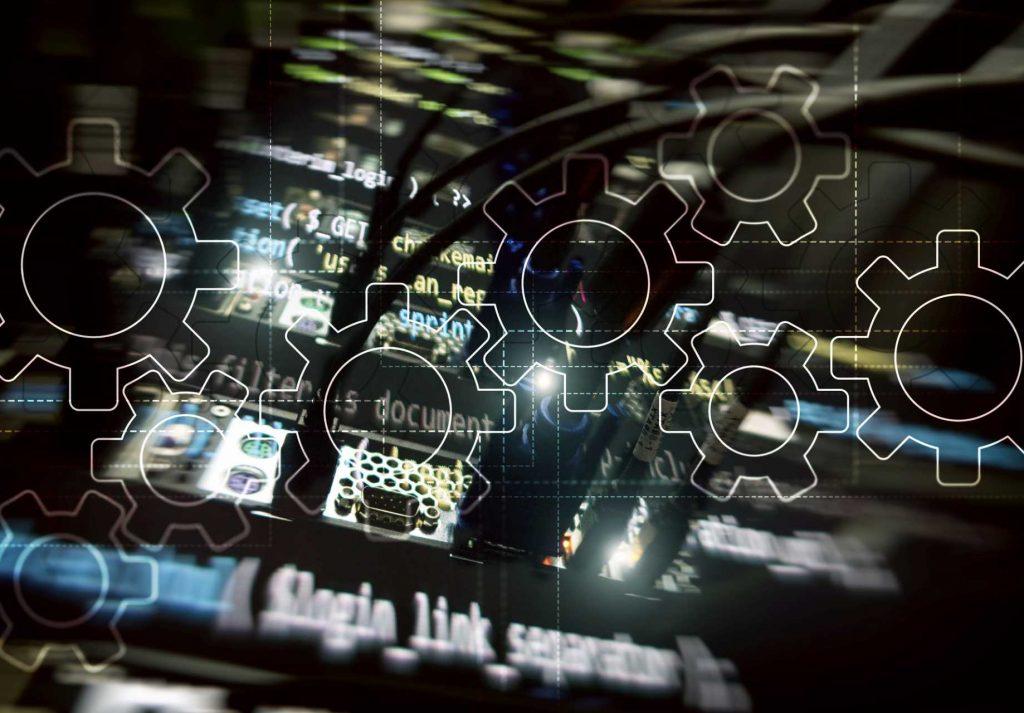 Factory Network - IoT - IIoT - Digitalisation - Digital Transformation - Gears mechanism, digital transformation, data integration and digital technology concept – image courtesy of Depositphotos.
