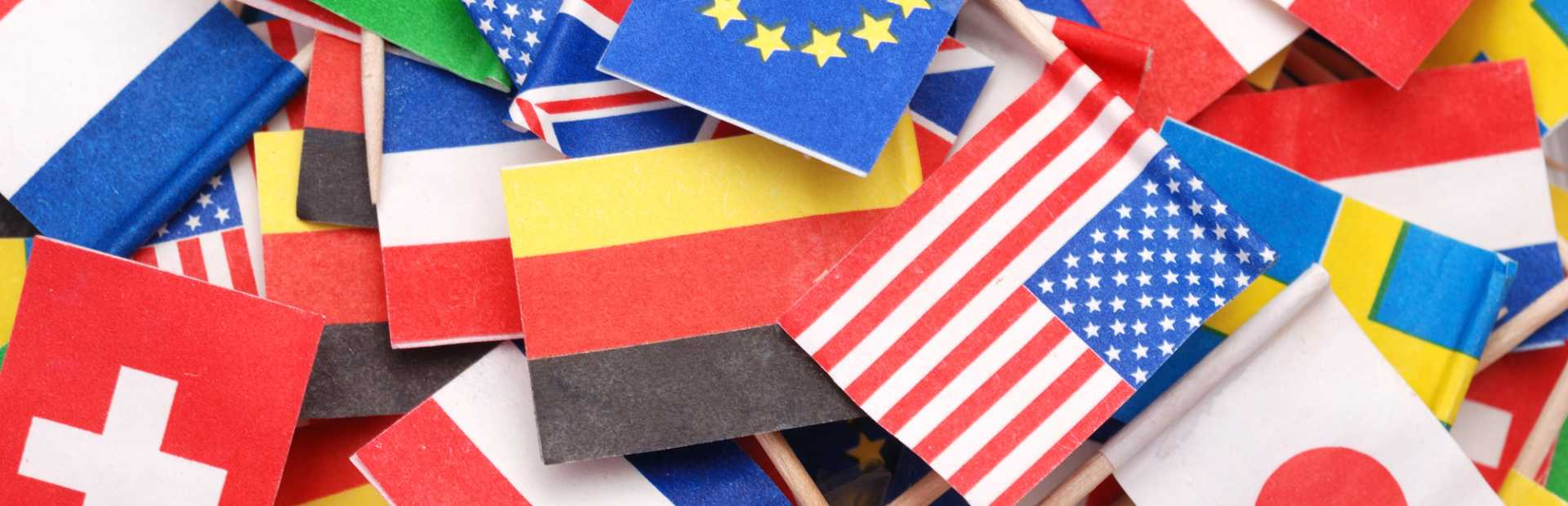 World flags World Trade International America European Union Exports Imports Supply Chain Stock - image courtesy of Depositphotos.
