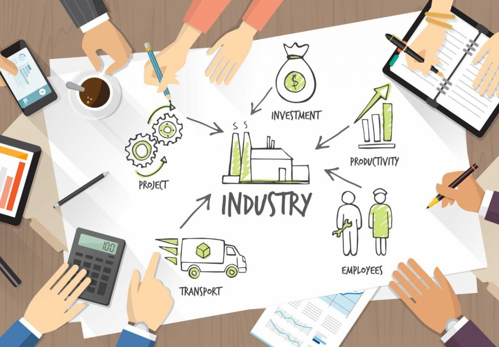 Manufacturers Business team working together Industrial Strategy Productivity Growth Leadership - image courtesy of Depositphotos.