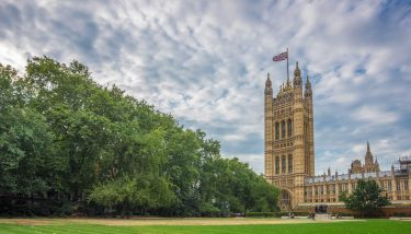 Palace of Westminster, Houses of Parliament and Victoria Tower shot from Victoria Tower Gardens, London, UK - image courtesy of Depositphotos.