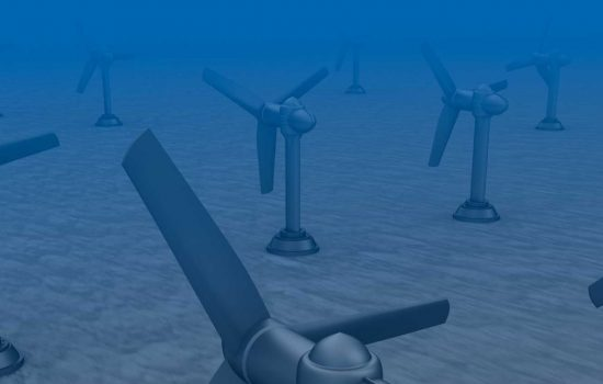Tidal wave turbines on the bottom of the sea - tidal energy - image courtesy of Depositphotos.