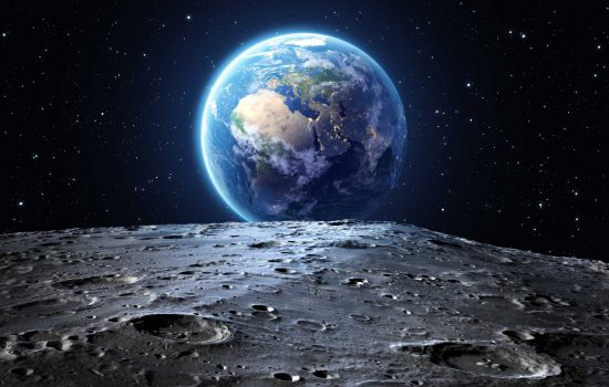 Blue earth seen from the moon surface - space - image courtesy of Depositphotos.