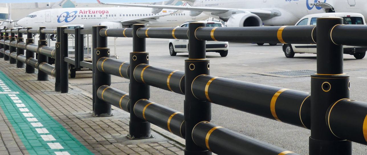 Industrial Safety Barriers - A-Safe Atlas barrier airport installation