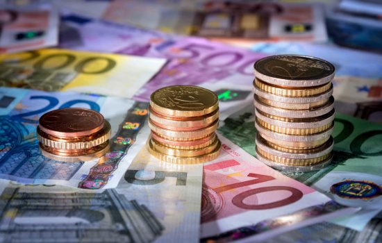 Innovation Funding R&D - Coins chart on euro banknotes stock exchange, money in rise - Stock - image courtesy of Depositphotos.