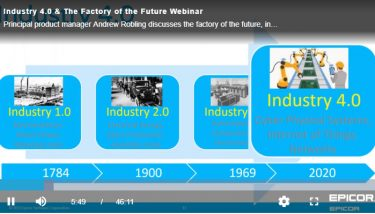 Industry 4.0 & The Factory of the Future Webinar - Screen Grab - Epicor UK