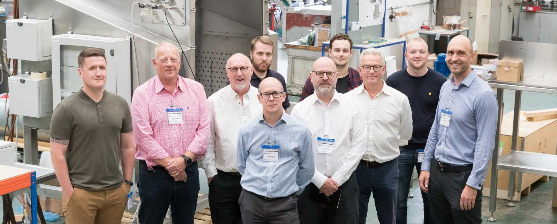 SME manufacturers = The 12 business leaders recently undertook their first site visit to Runcorn-based Hosokawa Micron – image courtesy of Made Smarter.