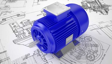 Industrial electric motor on the drawing - image courtesy of Depositphotos.