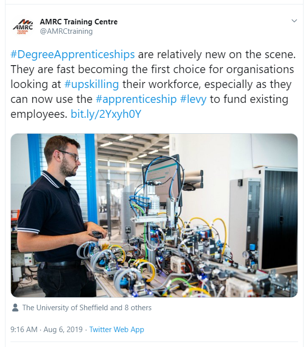 A tweet from AMRC encouraging employers to use Apprenticeship Levy funds for training managers