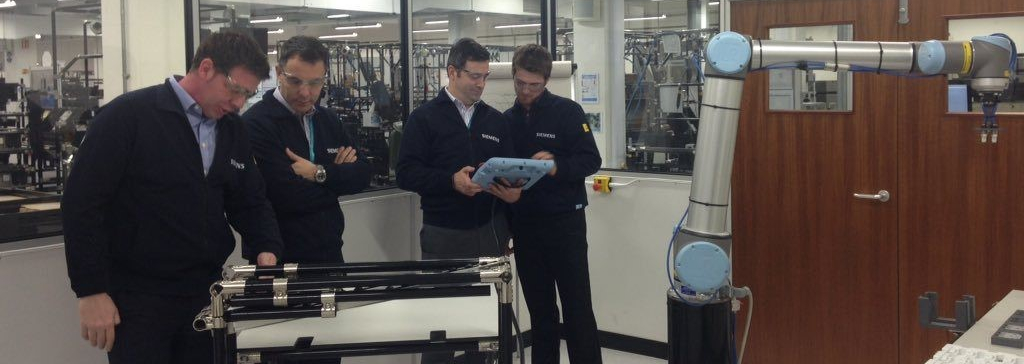 Juergen Maier, UK CEO, and Brian Holliday, MD of Digital Industries UK, in the Robo Lab