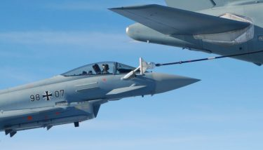 A German Air Force Eurofighter refuels using Cobham technology