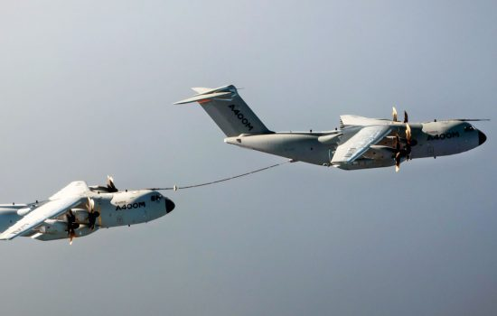 An Airbus A400M demonstrates Cobham's Aerial Refuelling System