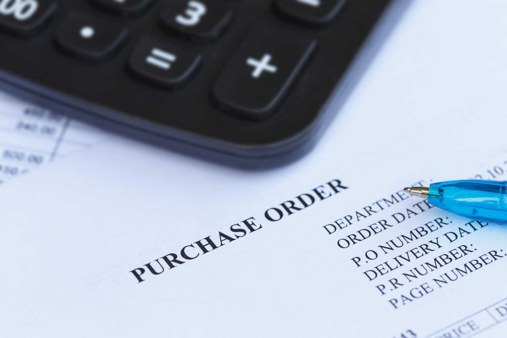 Purchase order with pen procurement supply chain finance supplier - image courtesy of Depositphotos.