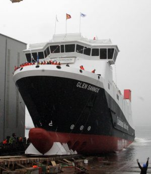 The first of the two ferries at the heart of the dispute - MV Glen Sannox - was launched in 2017