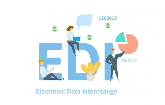 EDI, Electronic Data Interchange. Concept with keywords, letters and icons. Colored flat vector illustration on white background - image courtesy of Depositphtos.