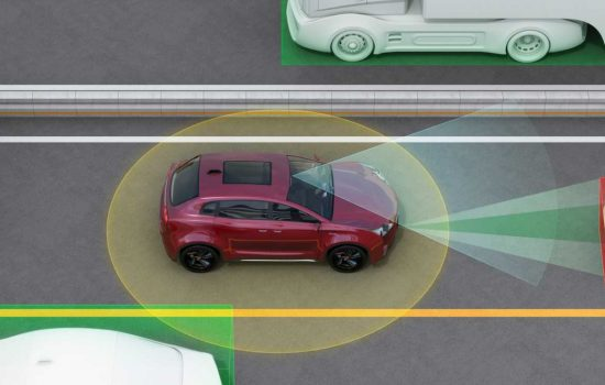 Concept illustration for auto braking, lane keeping functions autonomous vehicles - image courtesy of Depositphotos.