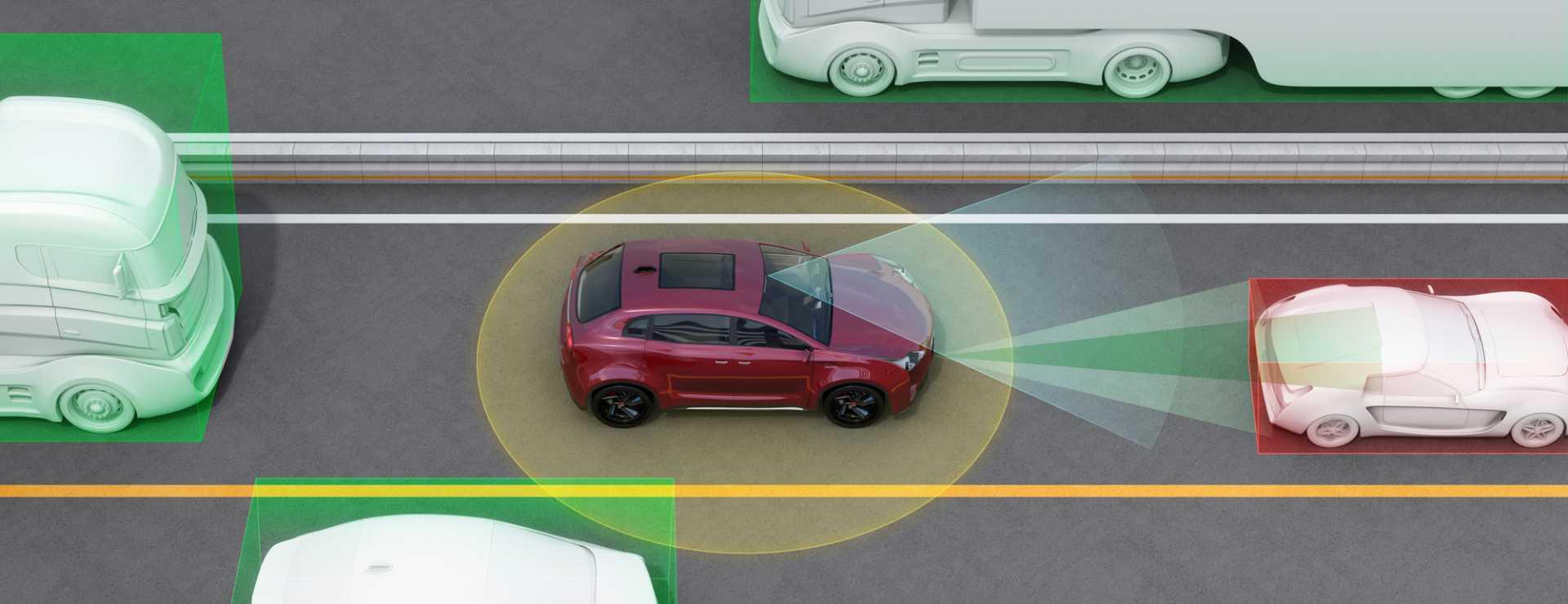 Concept illustration for auto braking, lane keeping functions autonomous vehicles - image courtesy of Depositphotos.
