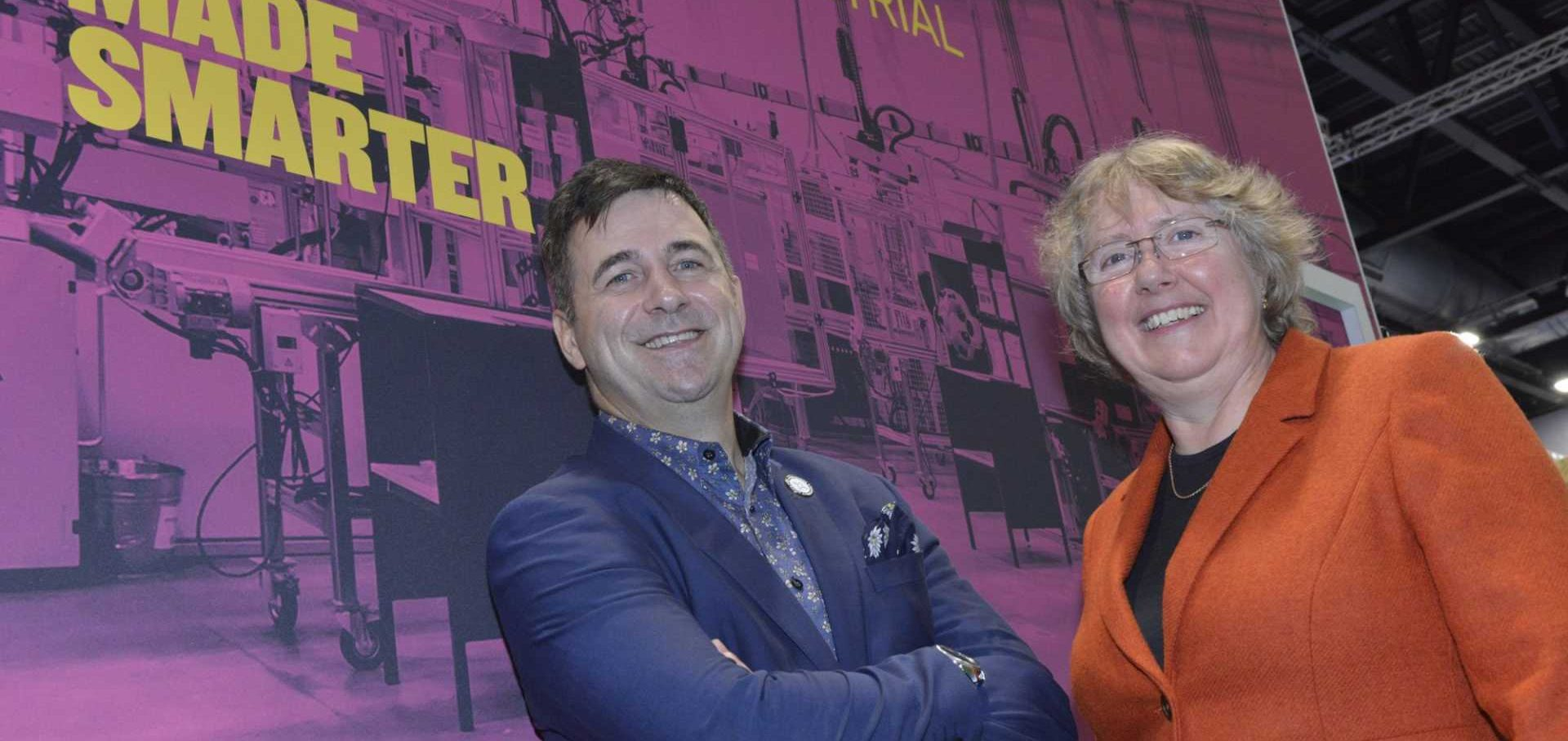 Juergen Maier at the launch of the Made Smarter North West Pilot at Digital Manufacturing Week 2018, with the Pilot's director Donna Edwards