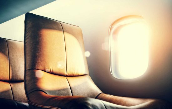 Luxury airplane interior aircraft seating - image courtesy of Depositphotos.