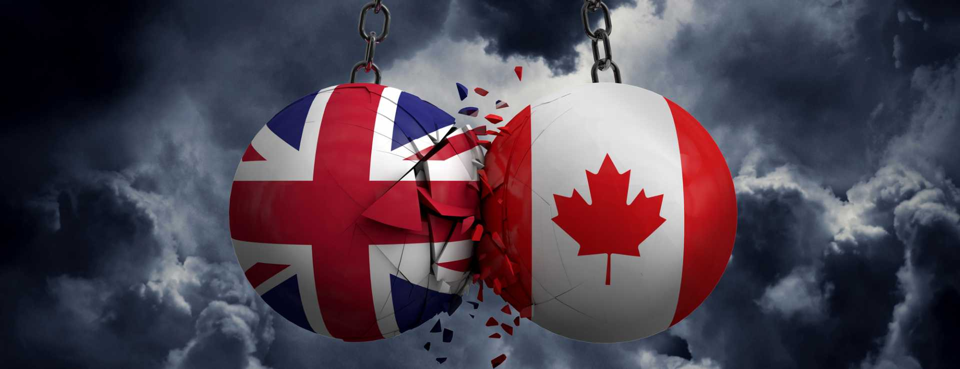 United Kingdom and Canada flag political balls smash into each other - image courtesy of Depositphotos.