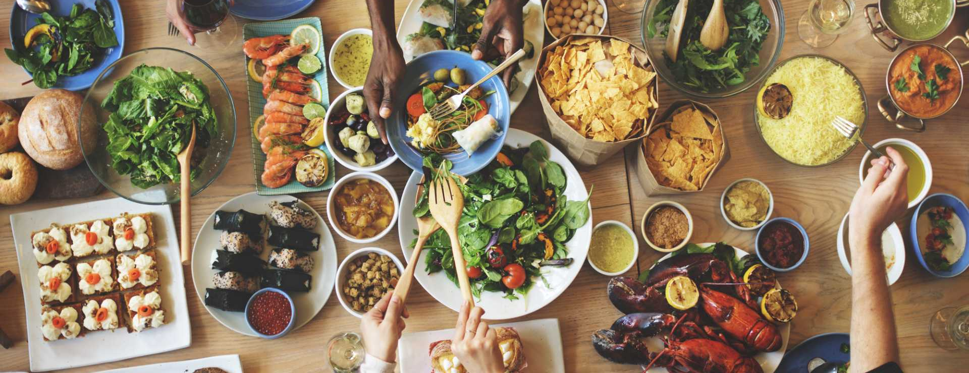 CROP - Food and Drink Table Meal - image courtesy of Depositphotos.