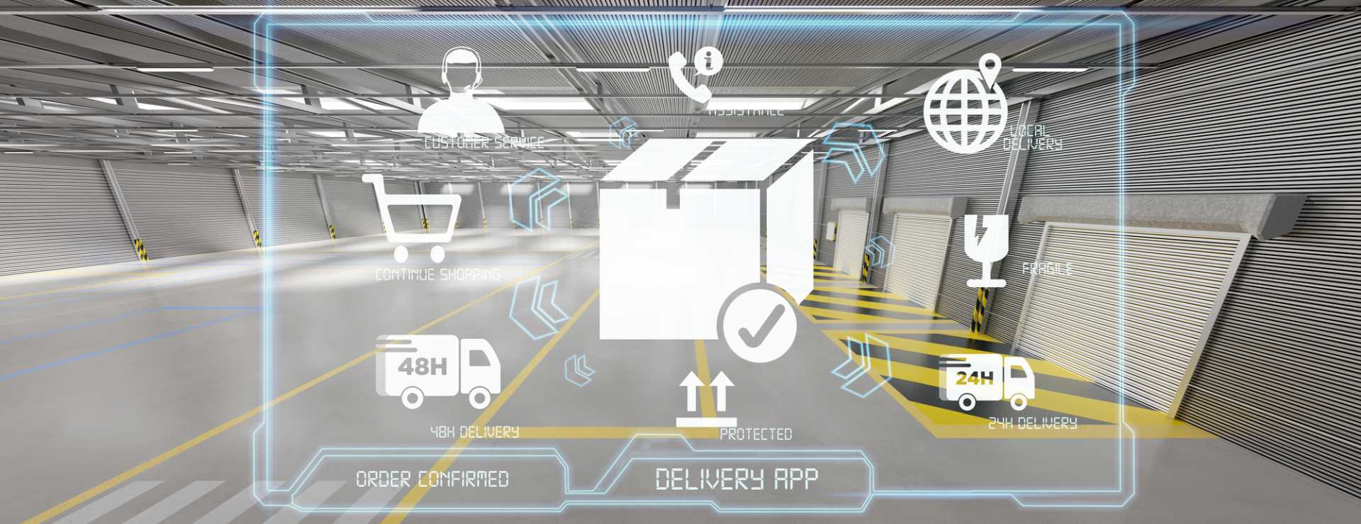View of a Logistic delivery service application on a warehouse background 3d rendering - image courtesy of Depositphotos.