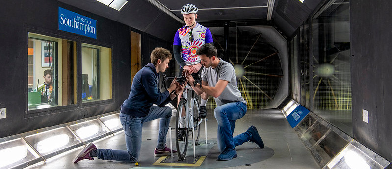 Engineers test bike in wind tunnel - image courtesy of University of Southampton. Aerospace Engineering.