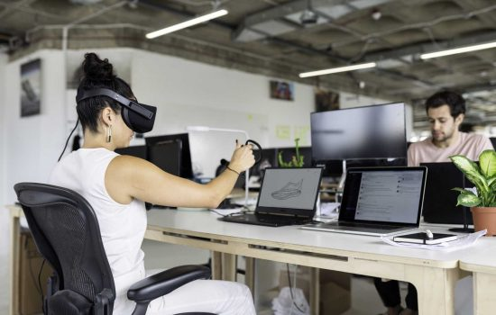 Female design engineer tests virtual reality software - image courtesy of This is Engineering.