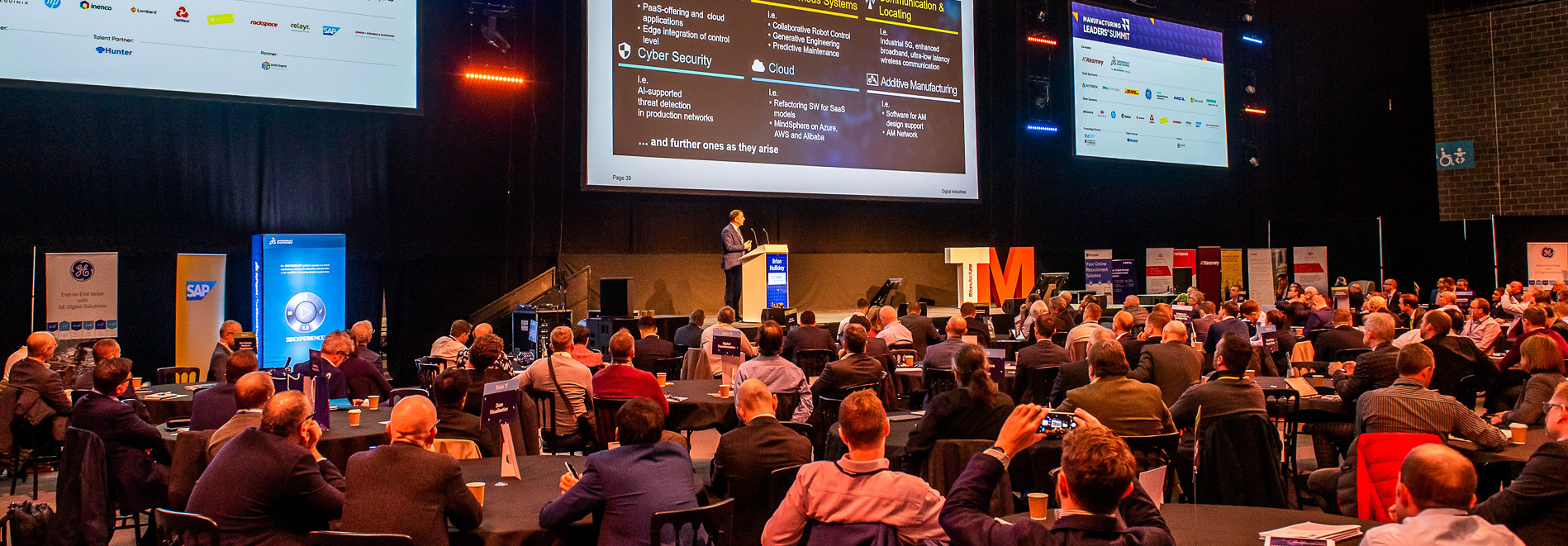 Brian Holliday, MD of Digital Industries at Siemens, took to the main stage at Manufacturing Leaders' Summit 2019 - image courtesy of The Manufacturer.
