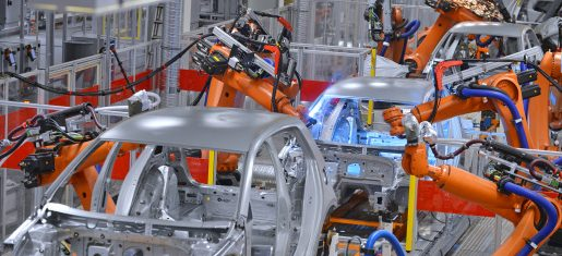 Automotive robots welding in factory Automation Digital Transformation Smart Factory Manufacturing _155386817 STOCK IMAGE