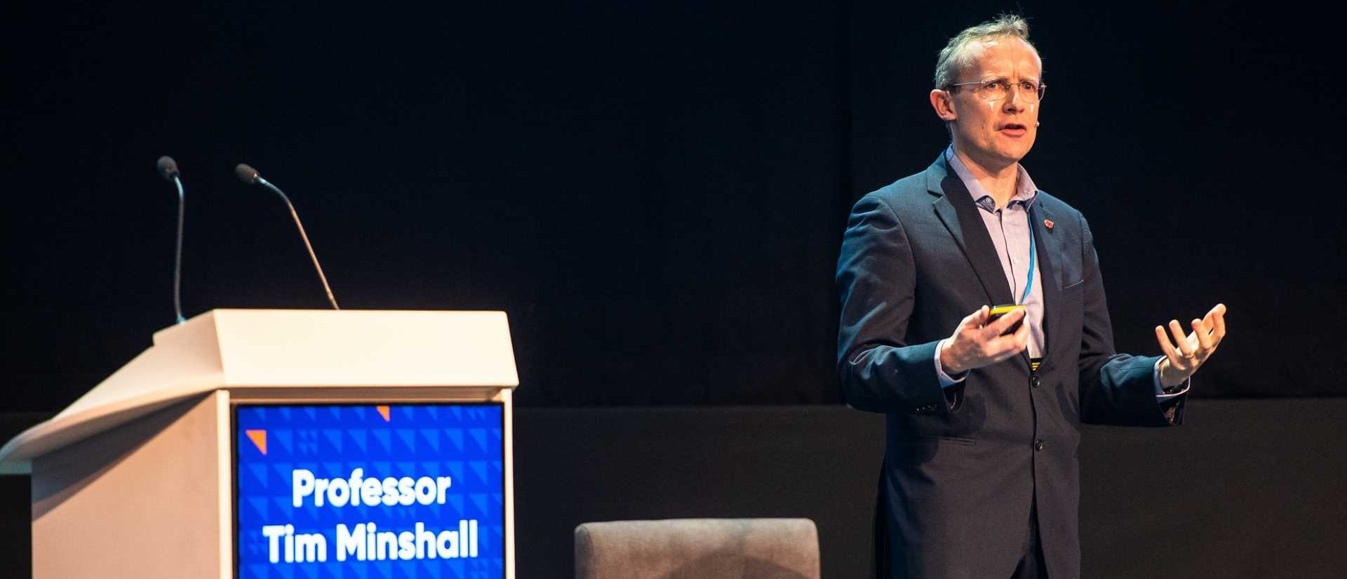 Professor Tim Minshall, Head of the Institute for Manufacturing (IfM), University of Cambridge too to the main stage at Manufacturing Leaders' Summit 2019 - image courtesy of The Manufacturer