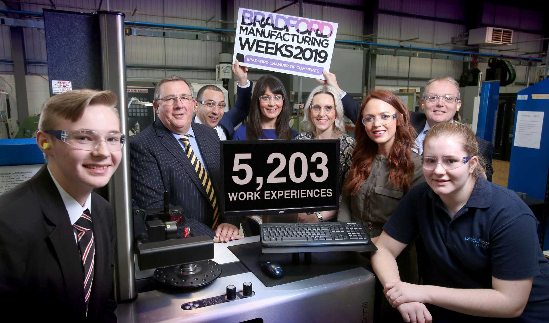 Bradford Manufacturing Week - (L to R): recent Produmax apprentice Ben Bott, Nick Garthwaite and sponsors Andrew Joseph from E3 Recruitment, Alexandra Fogal from Barclays, Victoria Wainwright from Naylor Wintersgill, Kirsty Tagg from Dale Carnegie, Paul Young from Gordons and Produmax apprentice Jasmine Hibbert.