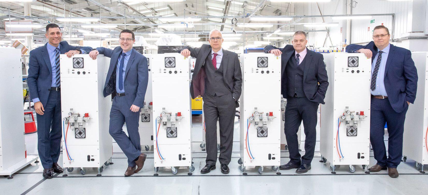 PP Control management team (l-r) sales director Garry Myatt, head of finance Stewart Robertson, CEO Tony Hague, Sean Cayley and Ian Knight