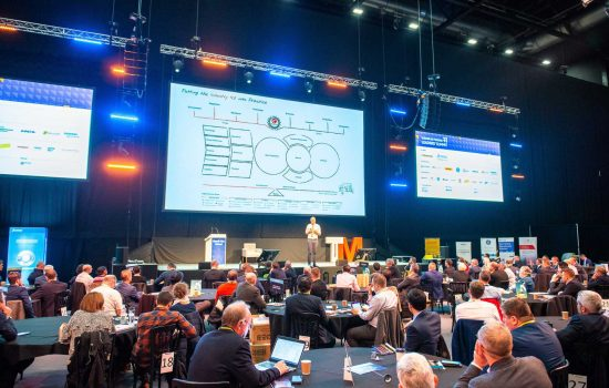 Wide Shot - Henrik Von Scheel took to the main stage at Manufacturing Leaders' Summit 2019 - image courtesy of The Manufacturer.