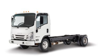 An Isuzu NPR Gas Cab Chassis commercial truck - image courtesy of Isuzu