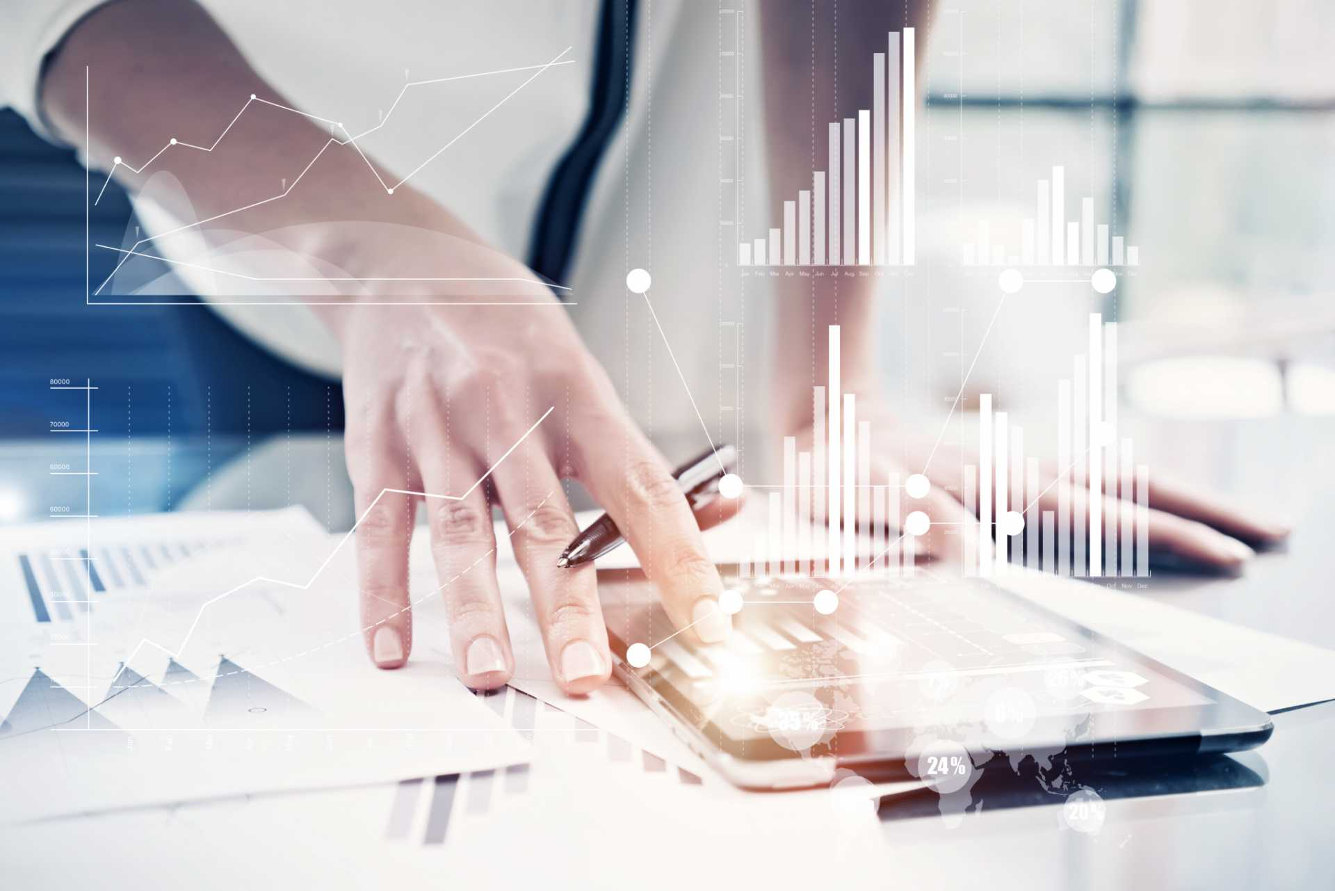 business resiliency Picture female hand touching modern tablet.Investment manager working new private banking project office.Using electronic device.Graphic icons,worldwide stock exchanges interface on screen. Horizontal - image courtesy of Shutterstock