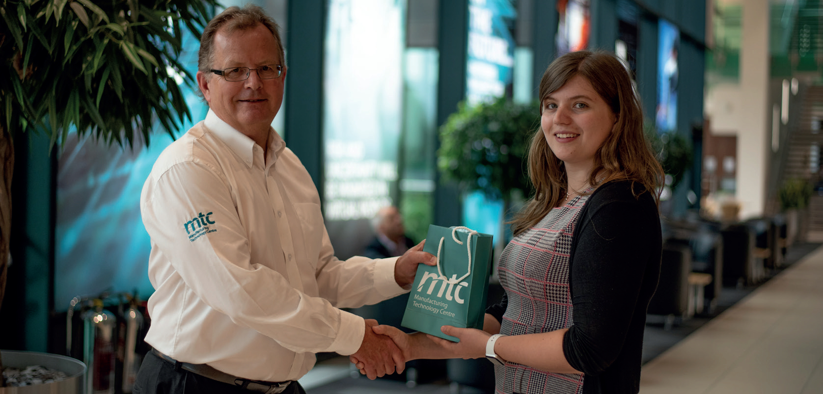 The MTC's senior business development manager Nigel Knapp with PhD student Laurissa Havins.
