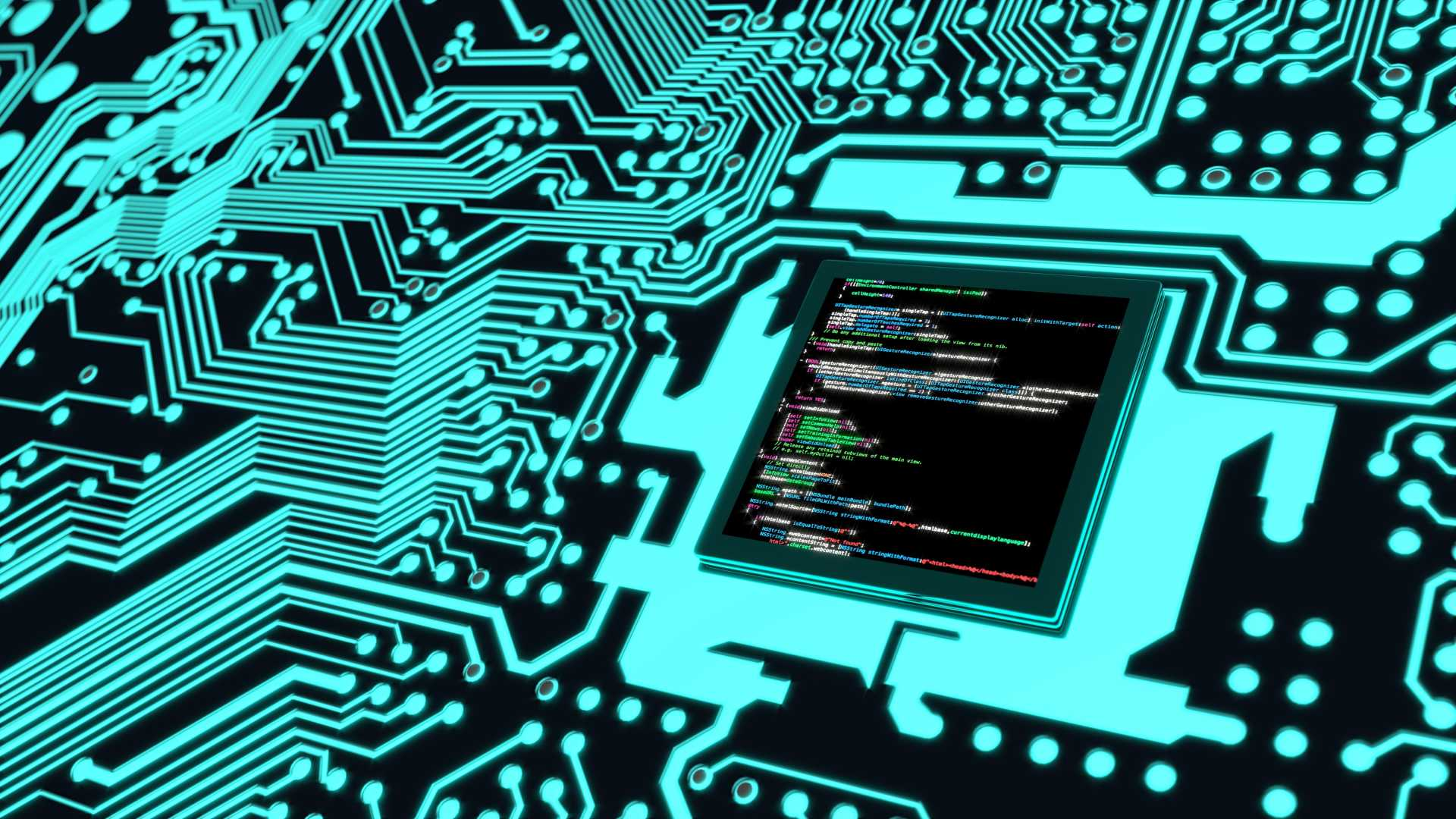 Blue circuit board with program code on the cpu information technology cybersecurity concept 3D illustration