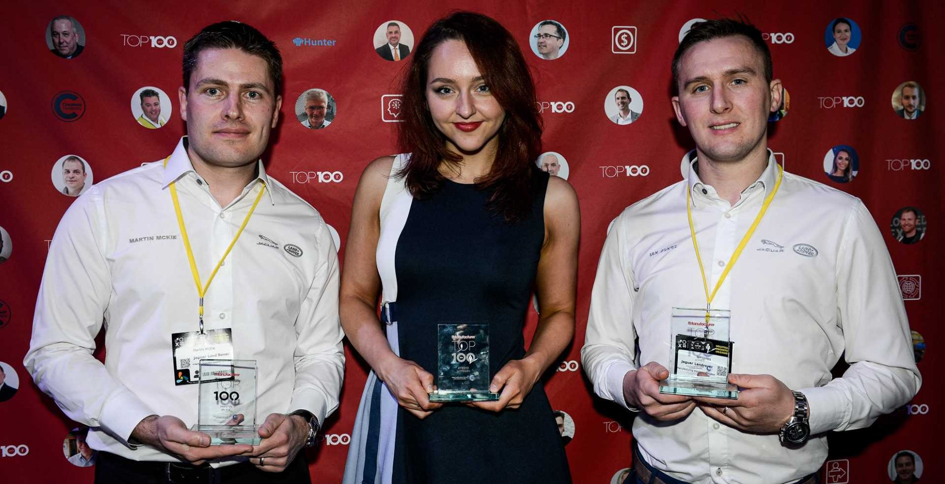 The Manufacturer Top 100 2019 - Exemplar Ayesha Lumsden with two colleagues from JLR who were also honoured, Martin McKie (L) and Ian Jones (R).