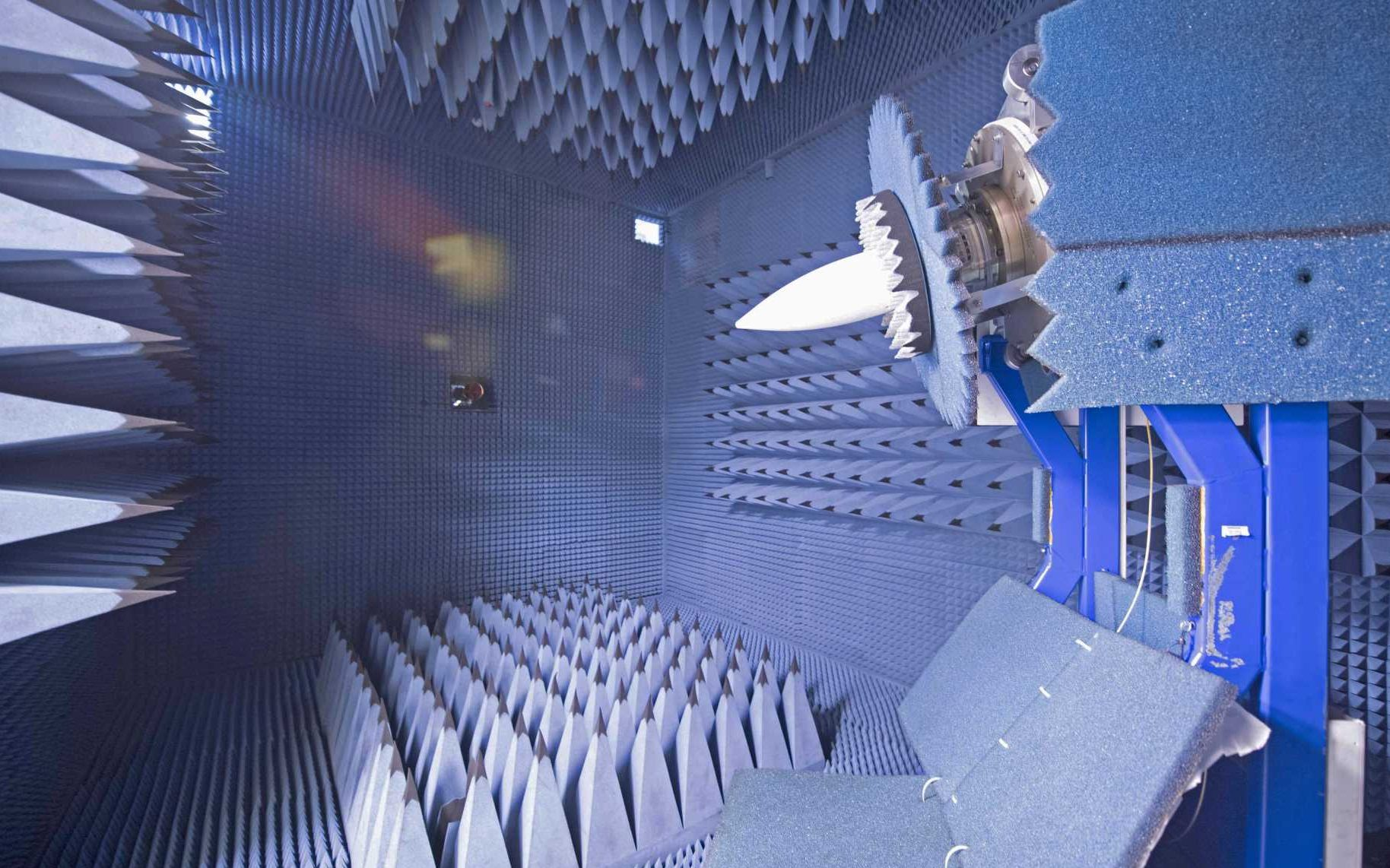 Bolton site - HWIL - RF Anechoic chambers – a bank of blue rooms held off the factory floor with walls and doors metres thick, and with metre-long pyramid shapes protruding from every surface ©MBDA