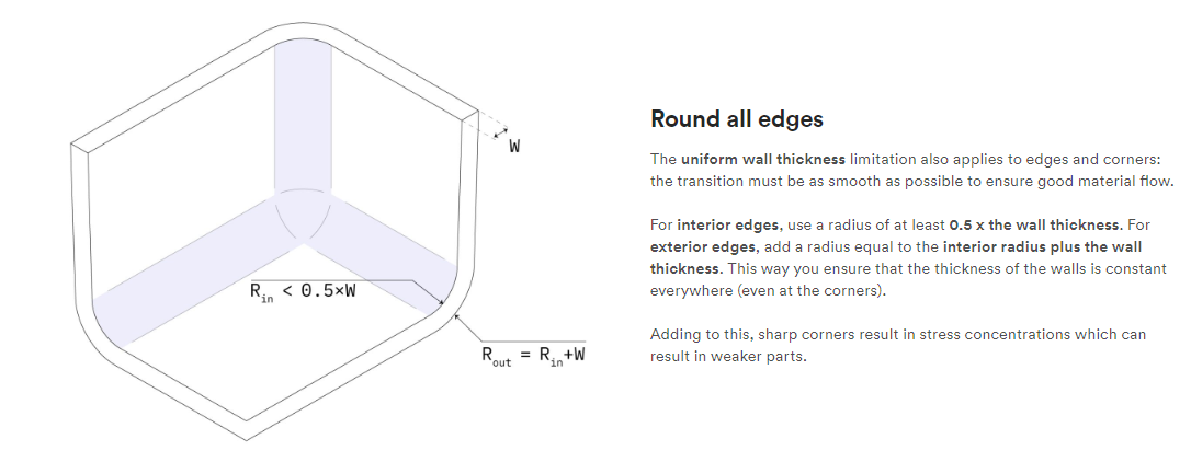 It's a good idea to round all edges – image courtesy of 3D Hubs.