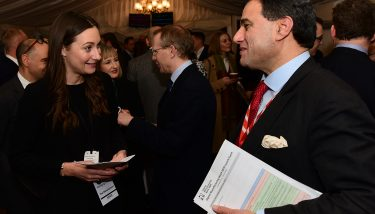 The Manufacturer's MD Grace Gilling with Lord Bilimoria, host of the launch of Digital Manufacturing Week