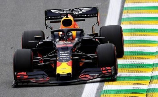CROPPED - SAO PAULO, BRAZIL - NOVEMBER 15: Max Verstappen of the Netherlands driving the (33) Aston Martin Red Bull Racing RB15 on track during practice for the F1 Grand Prix of Brazil at Autodromo Jose Carlos Pace on November 15, 2019 in Sao Paulo, Brazil. (Photo by Mark Thompson/Getty Images)