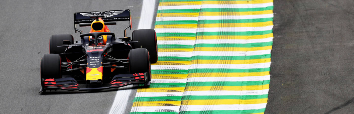 SAO PAULO, BRAZIL - NOVEMBER 15: Max Verstappen of the Netherlands driving the (33) Aston Martin Red Bull Racing RB15 on track during practice for the F1 Grand Prix of Brazil at Autodromo Jose Carlos Pace on November 15, 2019 in Sao Paulo, Brazil. (Photo by Mark Thompson/Getty Images)